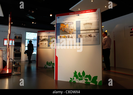 Information boards inside of the European Green Capital Infopavilion in Hamburg, Germany. - Stock Photo