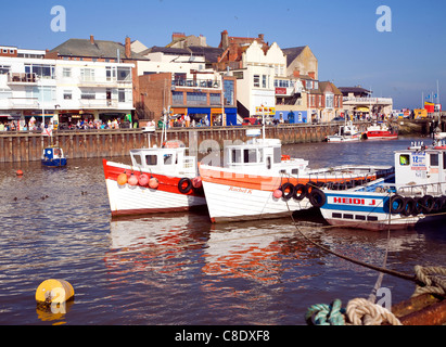 Fishing boats in the harbour at Bridlington, Yorkshire, England - Stock Photo