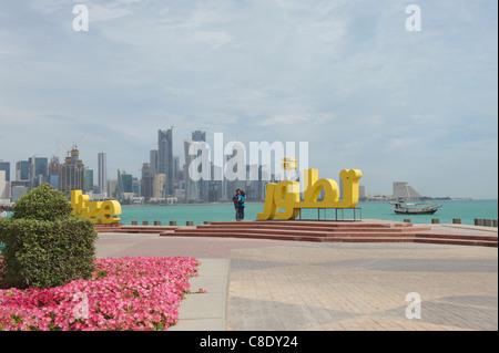 corniche doha qatar city center skyline - Stock Photo
