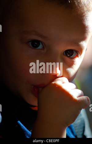 Little boy sucking his thumb Stock Photo