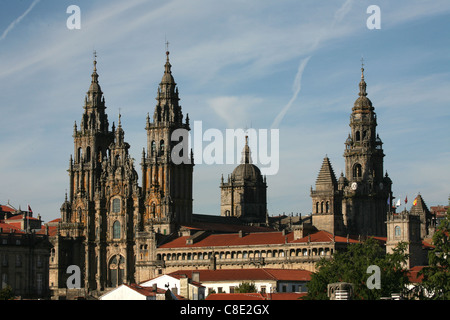 Cathedral of Santiago de Compostela from the Alameda Park in Galicia, Spain. - Stock Photo