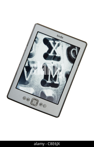 New Amazon wifi Kindle ebook reader in standby mode. England, UK, Britain. - Stock Photo