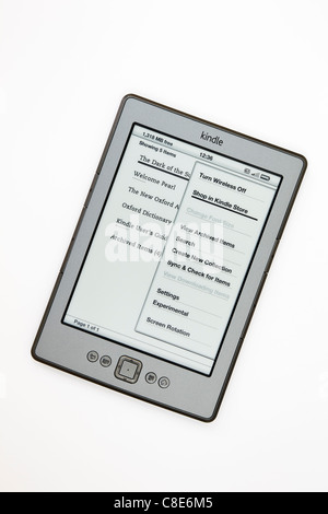 New Amazon wifi Kindle ebook reader home page isolated on a white background. - Stock Photo