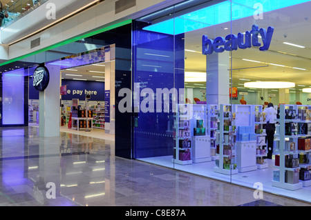 Boots pharmacy chemist beauty shop front & window in Westfield shopping centre mall in Stratford City East London - Stock Photo