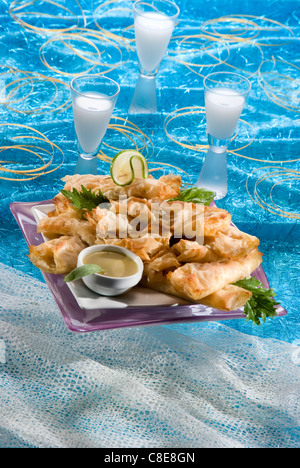 Carrot and cumin crunchy filo pastry rolls with coconut sauce - Stock Photo