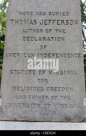 Thomas Jefferson home, Monticello, Virginia USA - Stock Photo