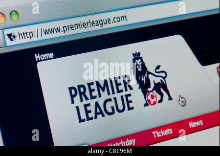 Close up of the Premier League logo as seen on its website. (Editorial use only: print, TV, e-book and editorial - Stock Photo
