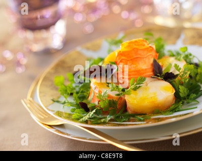 Spiny lobster tail with mango purée - Stock Photo