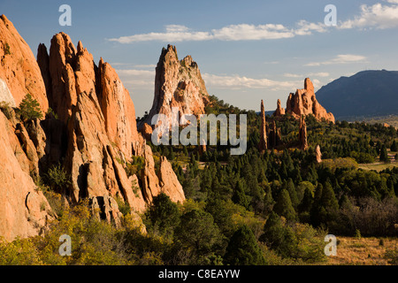 South Gateway Rock, Cathedral Spires and Three Graces, Garden of the Gods.  Nat'l Natural Landmark, Colorado Springs, - Stock Photo