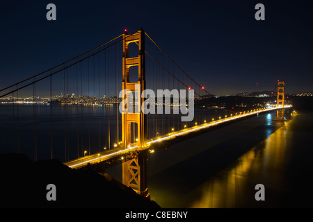 San Francisco Golden Gate Bridge and City Skyline Over the Bay at Blue Hour - Stock Photo