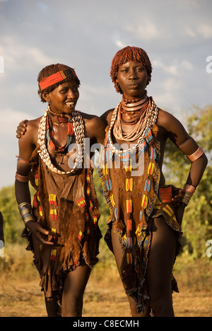 Elk200-5488v Ethiopia, Omo Valley, Hamer tribe, women dancers - Stock Photo
