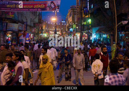 Huge crowds for holy Festival of Shivaratri in the streets of the holy city of Varanasi, Benares, Northern India - Stock Photo