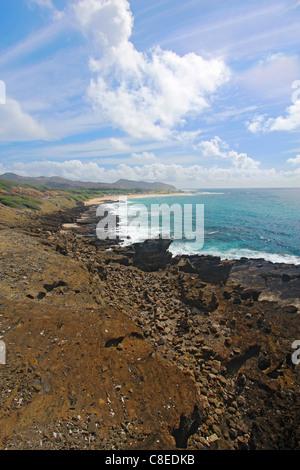 View of Sandy Beach Park from the Halona Blowhole near Honolulu on the southeast coast of the Hawaiian island of - Stock Photo