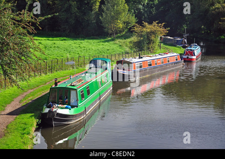 Narrowboats on Grand Union Canal, Chandler's Cross, Watford, Hertfordshire, England, United Kingdom - Stock Photo