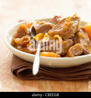 Bourbonnais lamb stew with dried fruit and onions - Stock Photo