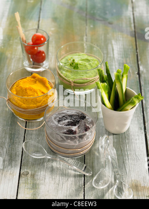 Selection of dip sauces - Stock Photo