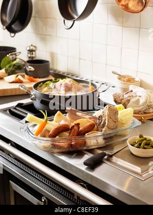 Breton Pot-au-feu with buckwheat flour and  Petit salé bacon - Stock Photo
