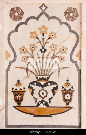 Pietra Dura stone and jewel inlay cut in marble frescoes at 17th Century Tomb of Etimad Ud Doulah, Agra, India - Stock Photo