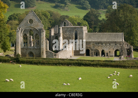 Valle Crucis Abbey, Llantisilio, Llangollen, Denbighshire, Wales, United Kingdom - Stock Photo