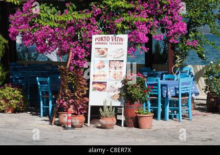 Greek taverna, Vathi, Meganisi, Ionian Islands, Greek Islands, Greece - Stock Photo