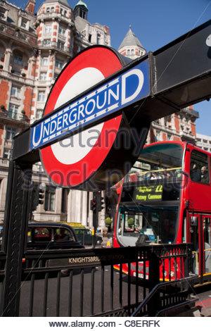 Knightsbridge Underground Station entrance. - Stock Photo