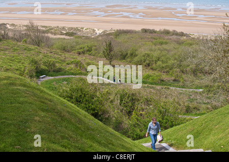 Omaha Beach, D-day landing site seen from the American cemetery, Colleville-sur-Mer, Calvados, Normandy, France - Stock Photo