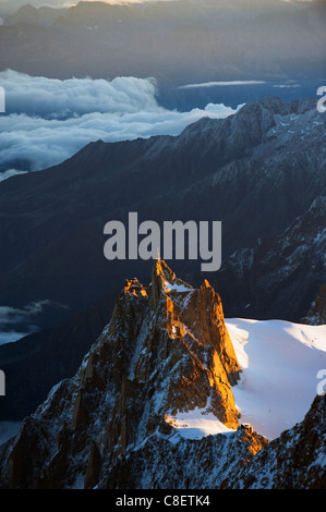 Sunrise on Aiguille du Midi cable car station, Mont Blanc range, Chamonix, French Alps, France - Stock Photo