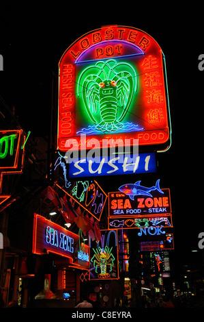 Nightlife, Walking Street, Pattaya, Thailand, Asia, neon, lights - Stock Photo