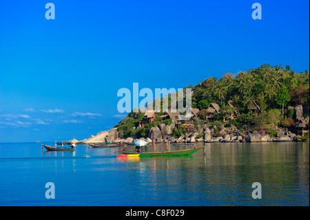 Boats, Sai Ree, Beach, Koh Tao, Thailand, Asia, - Stock Photo