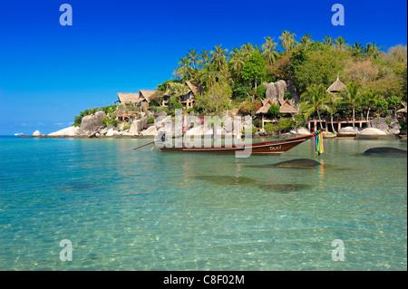Longtail boat, Koh Tao, Cabana, Hotel, Sai Ree, Beach, Koh Tao, Thailand, Asia, - Stock Photo