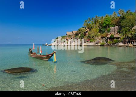 Koh Tao, Cabana Hotel, Sai Ree, Beach, Koh Tao, Thailand, Asia, Longtail Boat, boat - Stock Photo