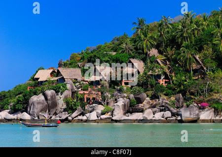 Koh Tao, Cabana Hotel, Sai Ree, Thailand, Asia, coast, beach - Stock Photo