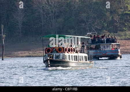 Boating, Periyar Tiger Reserve, Thekkady, Kerala, India - Stock Photo