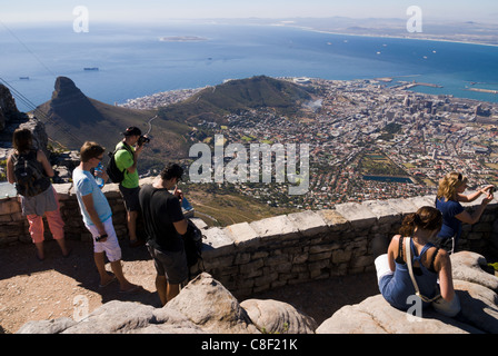 Tourists enjoying the view on Cape Town from Table Mountain