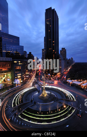 Columbus Circle, Manhattan, New York, USA, United States, America, night, traffic, lights - Stock Photo