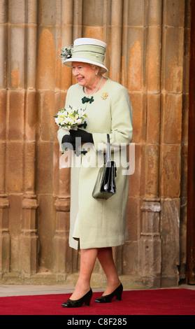Britain's Queen Elizabeth II departs Queens University in Belfast, Northern Ireland - Stock Photo