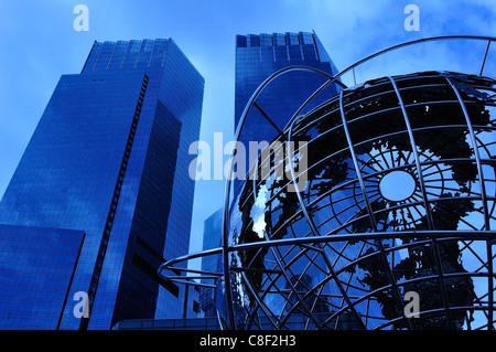 Time Warner Center, Columbus Circle, Manhattan, New York, USA, United States, America, sculpture, night - Stock Photo