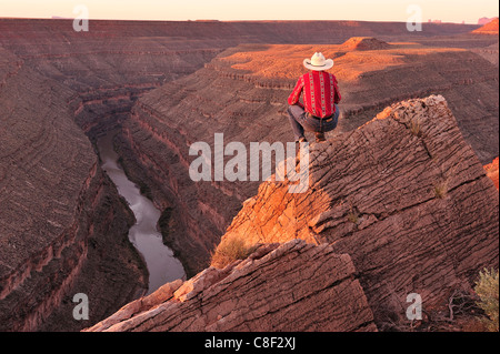 Cowboy, Goosenecks, State Park, San Juan River, Colorado Plateau, Utah, USA, United States, America, - Stock Photo