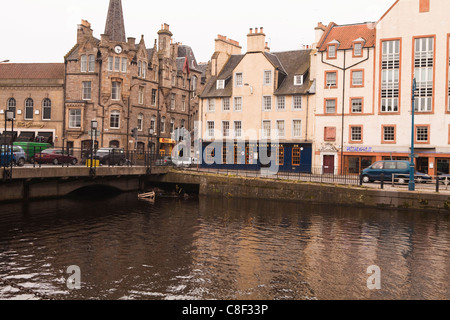 New and old waterside buildings, Leith, Edinburgh, Scotland, United Kingdom - Stock Photo