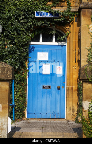 Entrance to Moreton in Marsh police station in the Cotswolds in July - Stock Photo