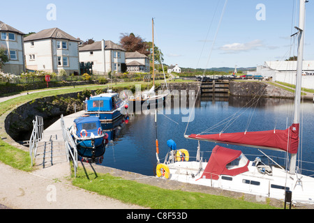The basin on the Crinan Canal above the lock at Ardrishaig, Argyll & Bute, Scotland, allowing access to Loch Gilp - Stock Photo