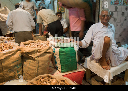 Spice trader in an alley off Khari Baoli Road (Spice Market Bazaar off Chandni Chowk), Old Delhi, India - Stock Photo