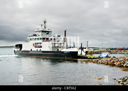 The Harris to North Uist ferry MV Loch Portain loading at Leverburgh on the Isle of Harris - Stock Photo