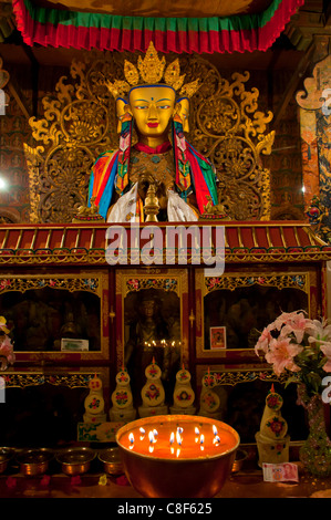 Buddha inside the Kumbum, literally one hundred thousand images, Palcho Monastery, Gyantse, Tibet, China - Stock Photo