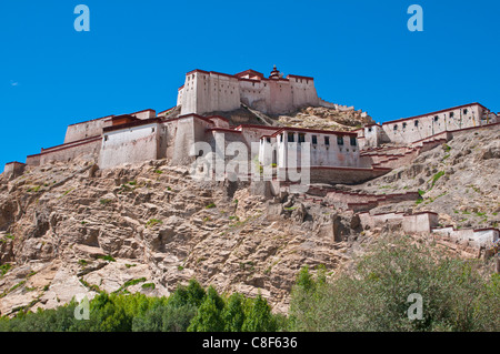 The dzong (fortress) of Gyantse, Tibet, China - Stock Photo