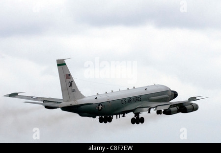 An RC-135 reconnaissance aircraft 'Rivet Joint', assigned to the 398th Air Expeditionary Group, takes off - Stock Photo