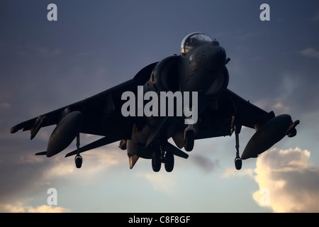 An AV-8B Harrier aircraft with Marine Attack Squadron 214, Marine Medium Helicopter Squadron 265 (Reinforced) - Stock Photo