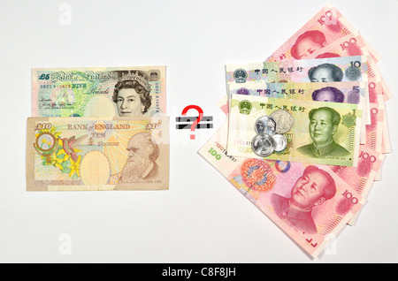 British Pound equal to Chinese Yuan in question. - Stock Photo