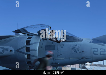 AV-8B Harrier on the flightline of Kandahar Airfield, Afghanistan - Stock Photo