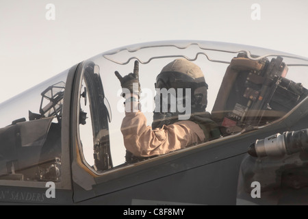 Marine Attack Squadron 513 pilot prepares to launch his AV-8B Harrier at Kandahar Airfield, Afghanistan. - Stock Photo